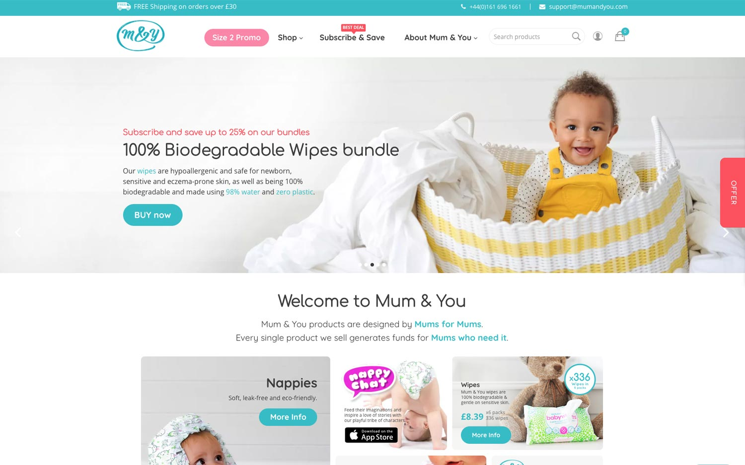 Mum&You website design ecommerce