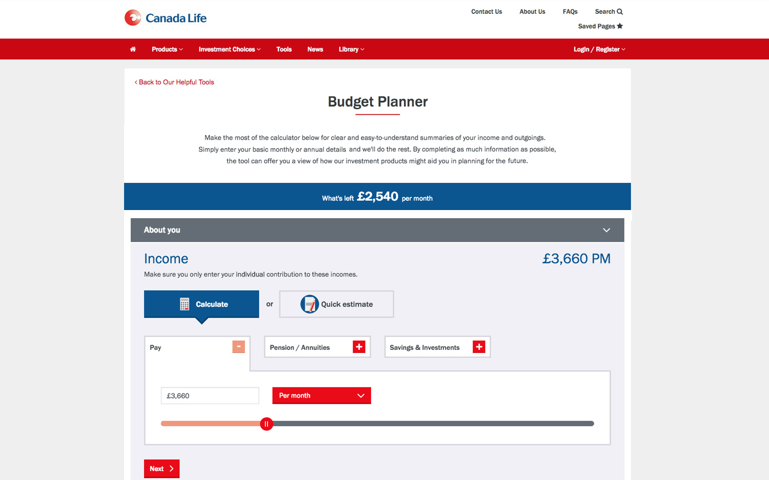 canada life budget planner app