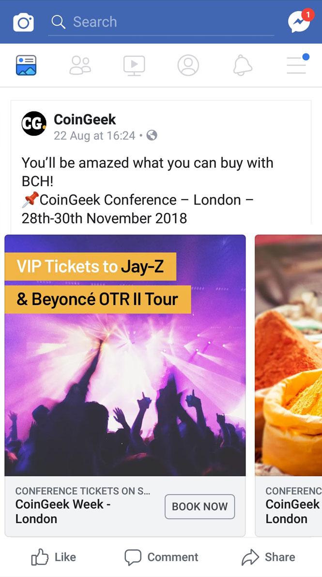 CoinGeek conference social media ad