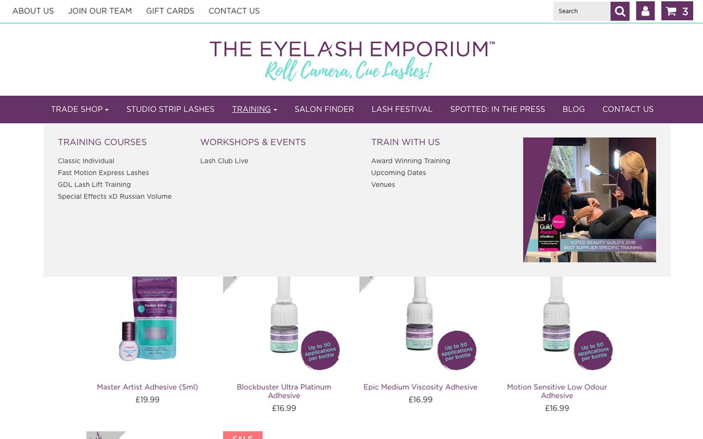 eyelash emporium homepage