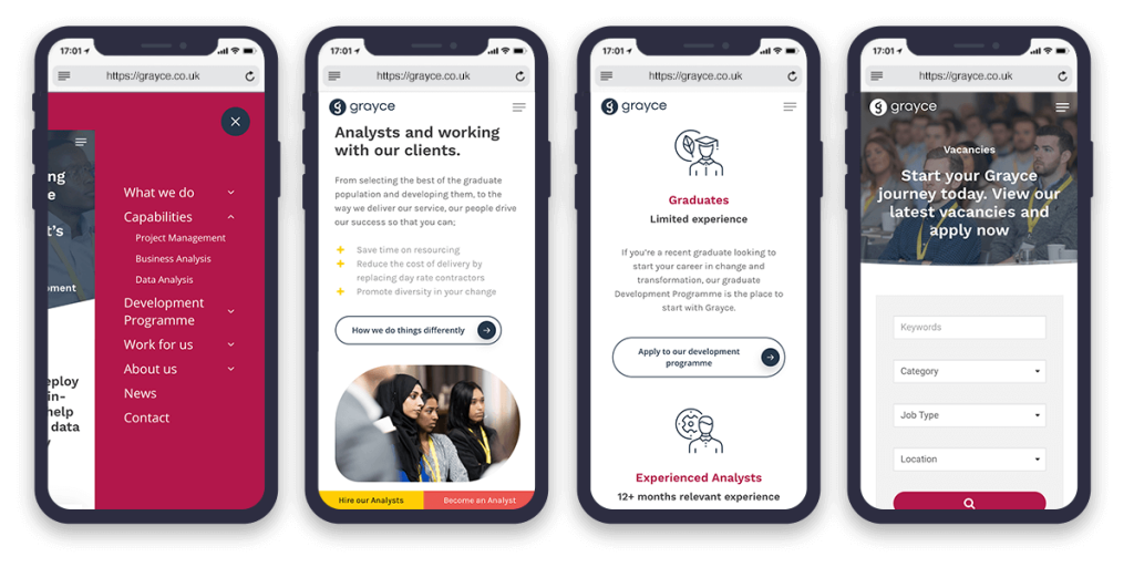 grayce mobile optimised website