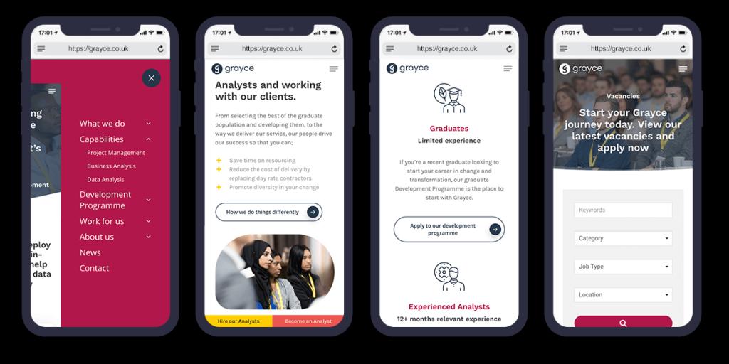 grayce mobile optimised website