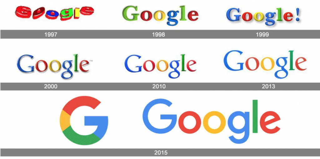Google's logo over the years