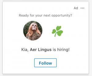 LinkedIn ad example - job