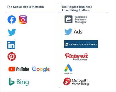 Social media business accounts