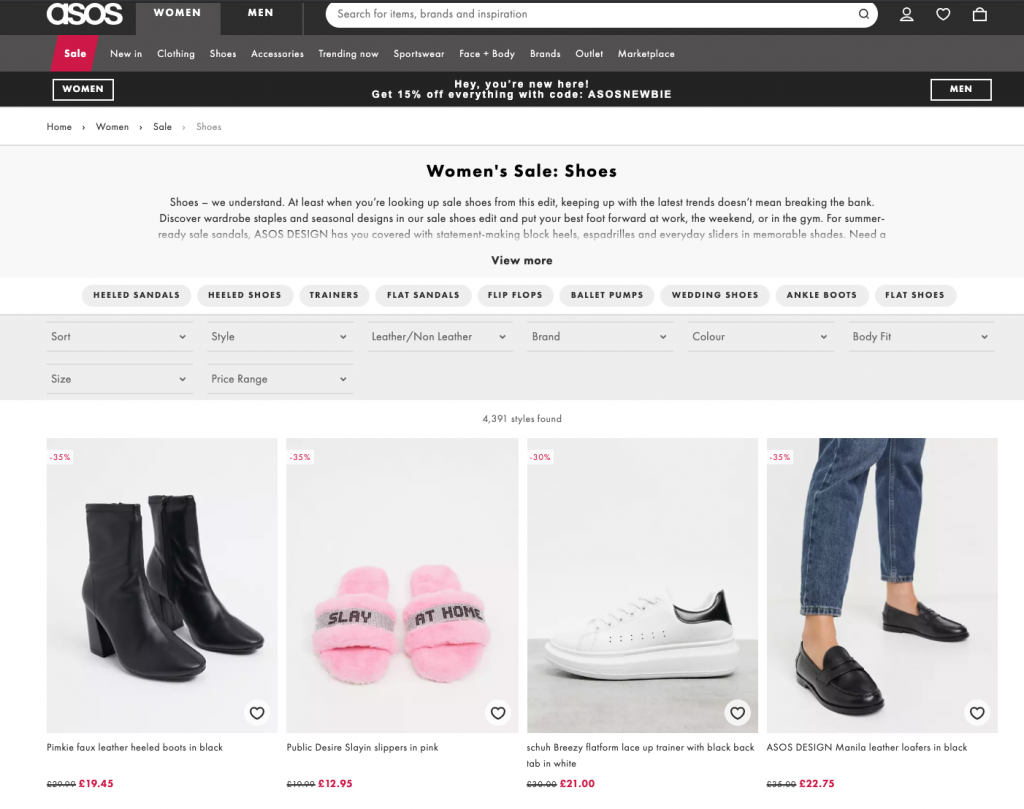 ASOS eCommerce product filters