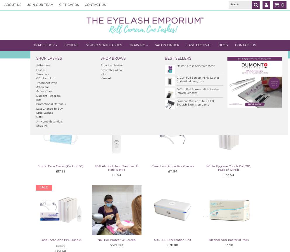 Eyelash Emporium eCommerce store built on Shopify